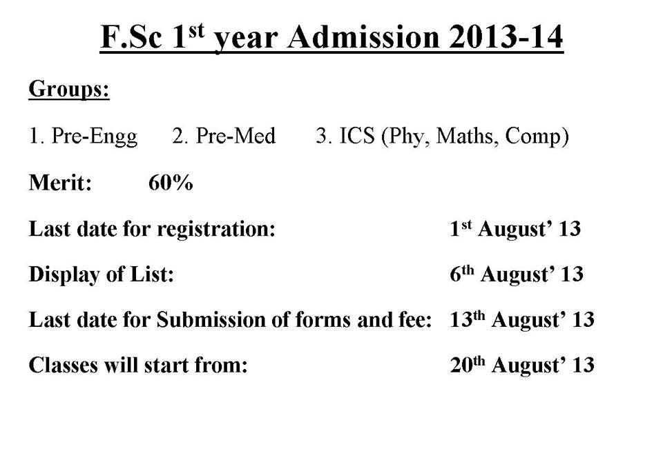 HSSC Admission Open 2013-14