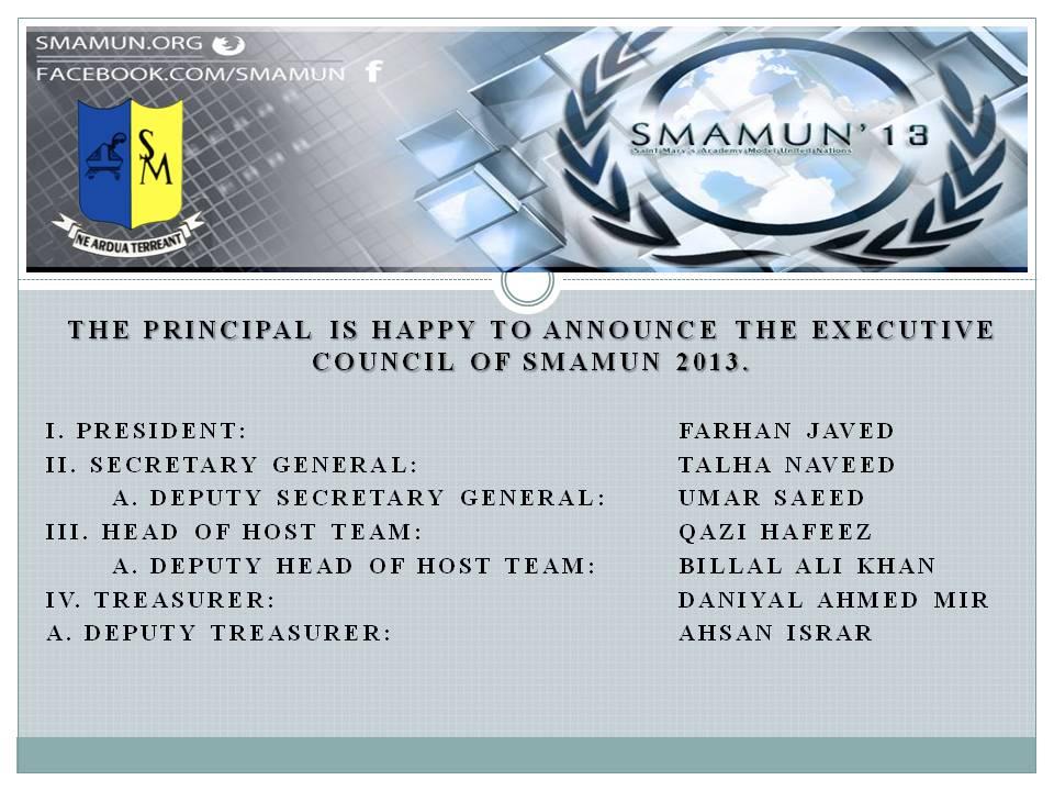 SMAMUN Executive Council 2013