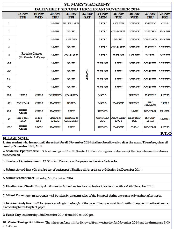 DATESHEET SECOND TERM EXAM NOVEMBER 2014